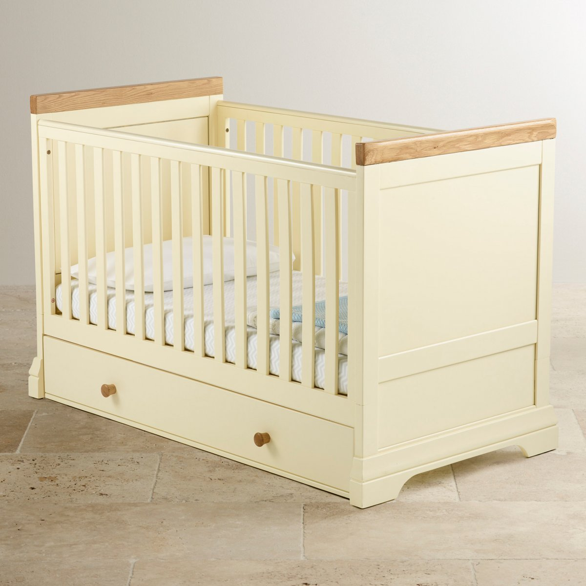Country Cottage Painted Cot Bed In Solid Oak