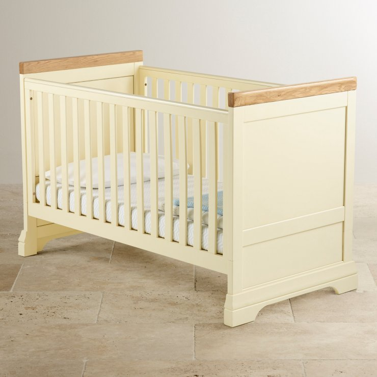 Country Cottage Painted Cot Bed In Solid Oak Oak