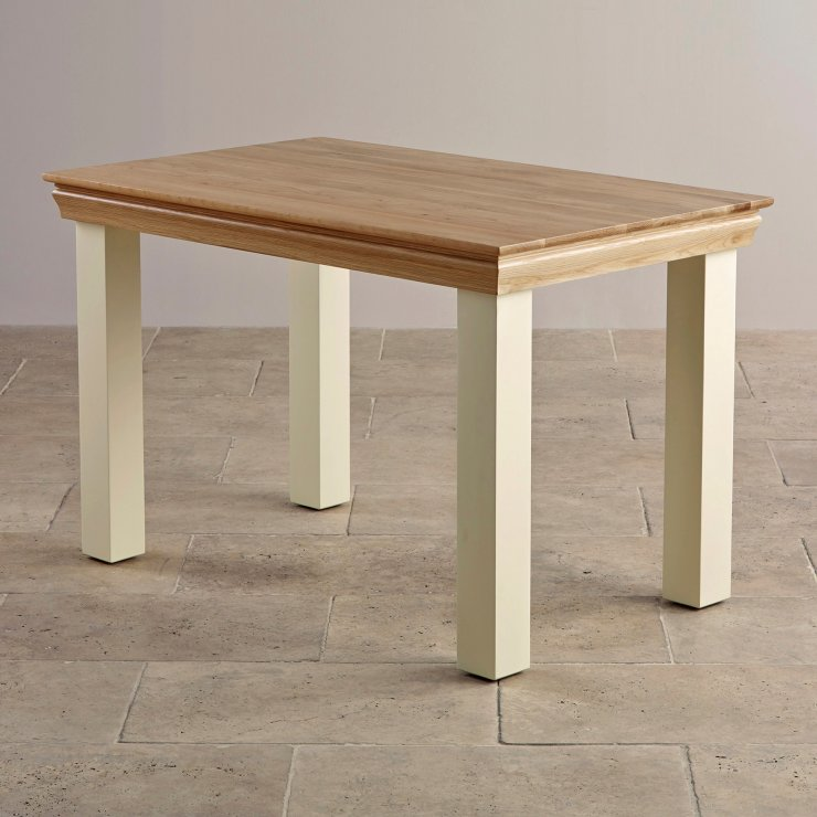 country cottage cream painted dining table in natural oak. Black Bedroom Furniture Sets. Home Design Ideas
