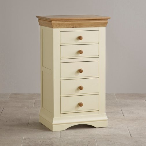 Country Cottage Natural Oak and Painted 5 Drawer Tallboy