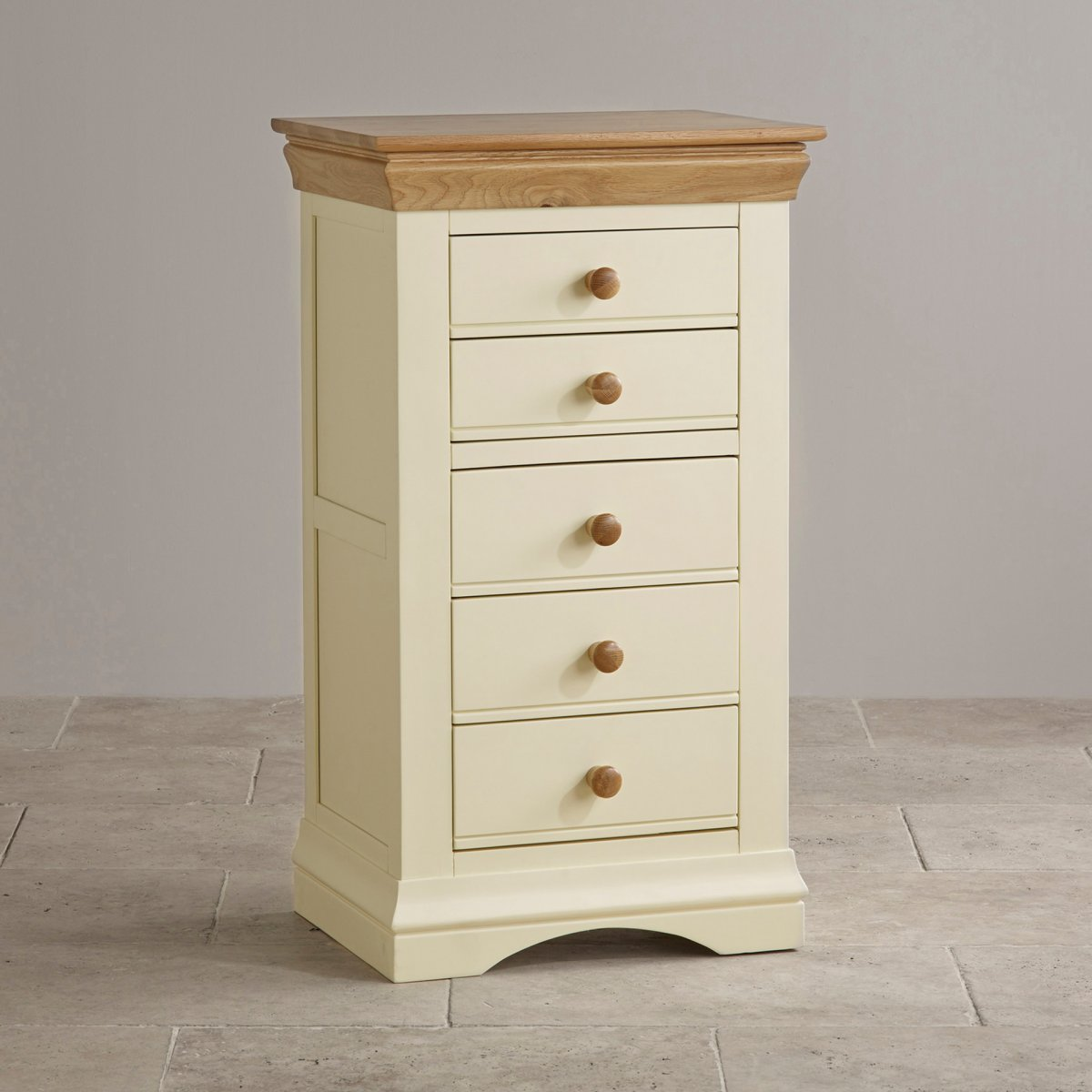 Country Cottage Natural Oak And Cream Painted 5 Drawer Chest