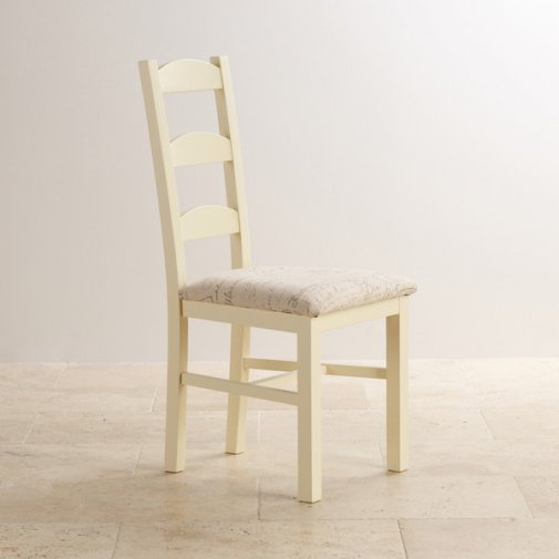 Country Cottage Dining Chair in Painted Natural Oak - Scripted Beige