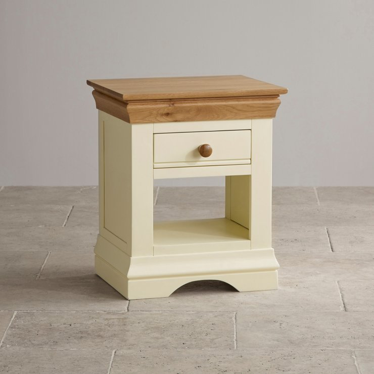 country cottage painted oak bedside table with drawer