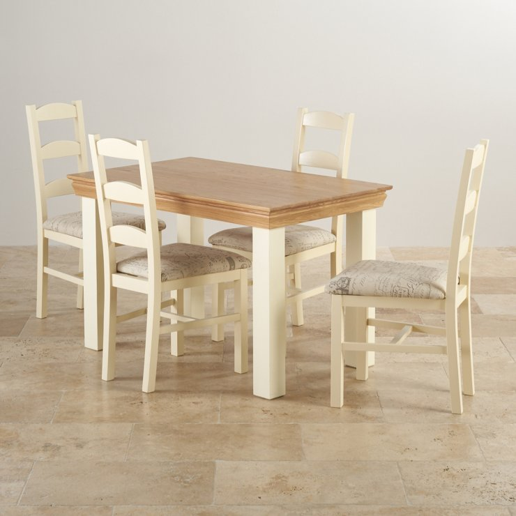 Country Cottage Natural Oak and Painted Dining Set - 4ft Table with 4 Country Cottage Fabric Chairs