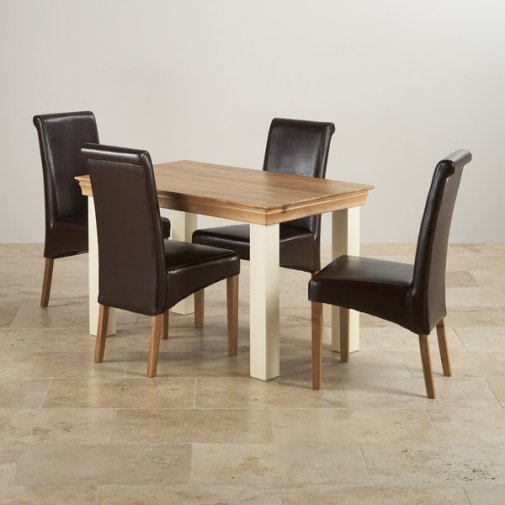 Country Cottage Natural Oak and Painted Dining Set - 4ft Table with 4 Scroll Back Brown Leather Chairs