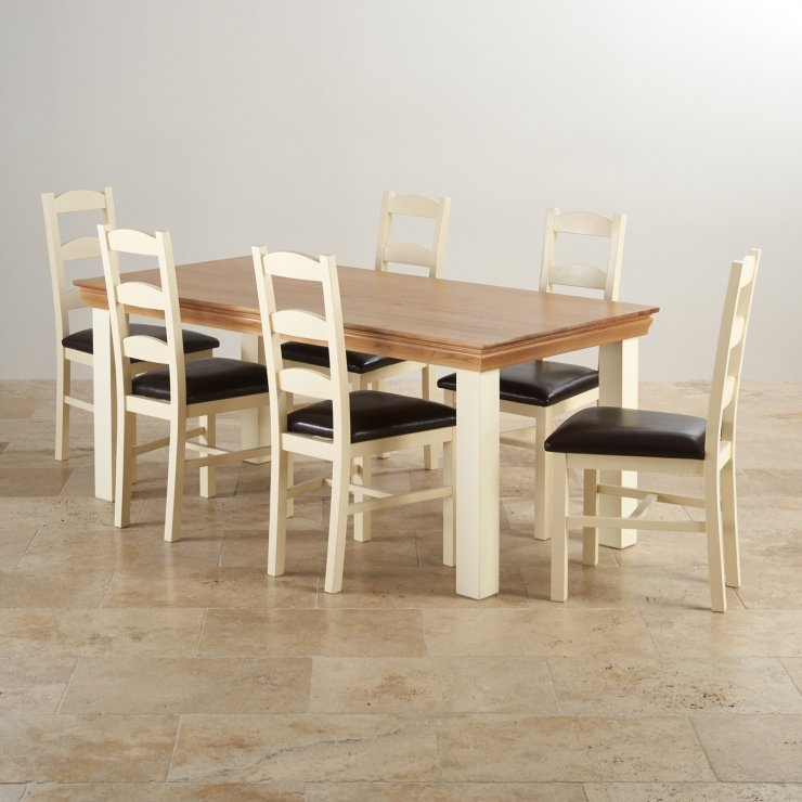 Country Cottage Dining Set In Oak Table 6 Leather Chairs