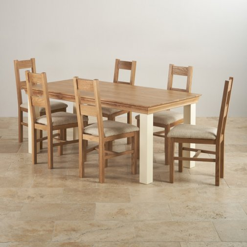 Country Cottage Natural Oak and Painted Dining Set - 6ft Table with 6 Farmhouse and Beige Fabric Chairs