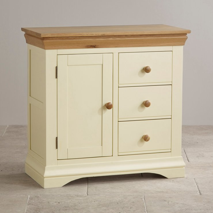 Country cottage natural oak storage cabinet cream painted for Cupboards and cabinets