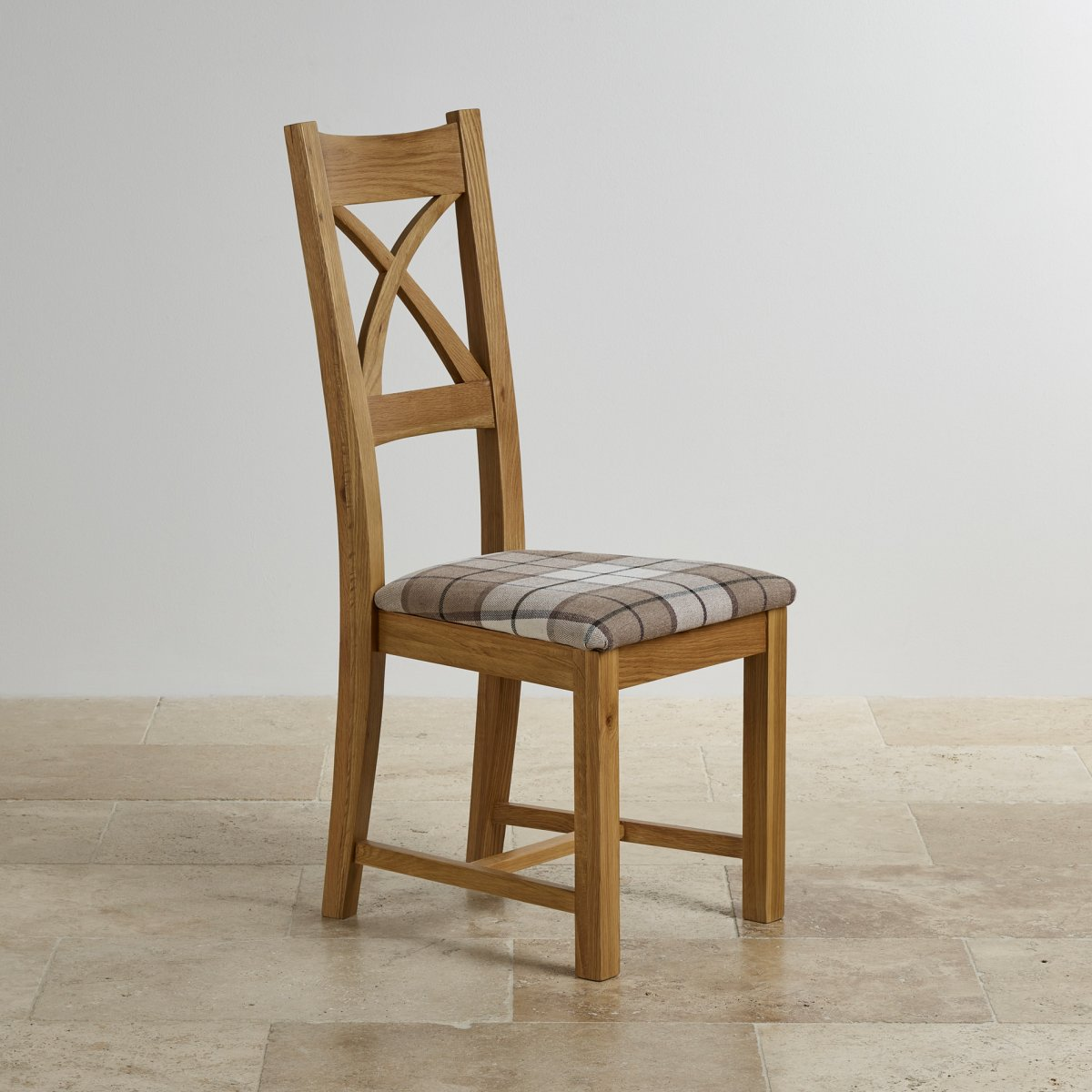 cross back dining chair in natural oak brown check fabric seat. Black Bedroom Furniture Sets. Home Design Ideas