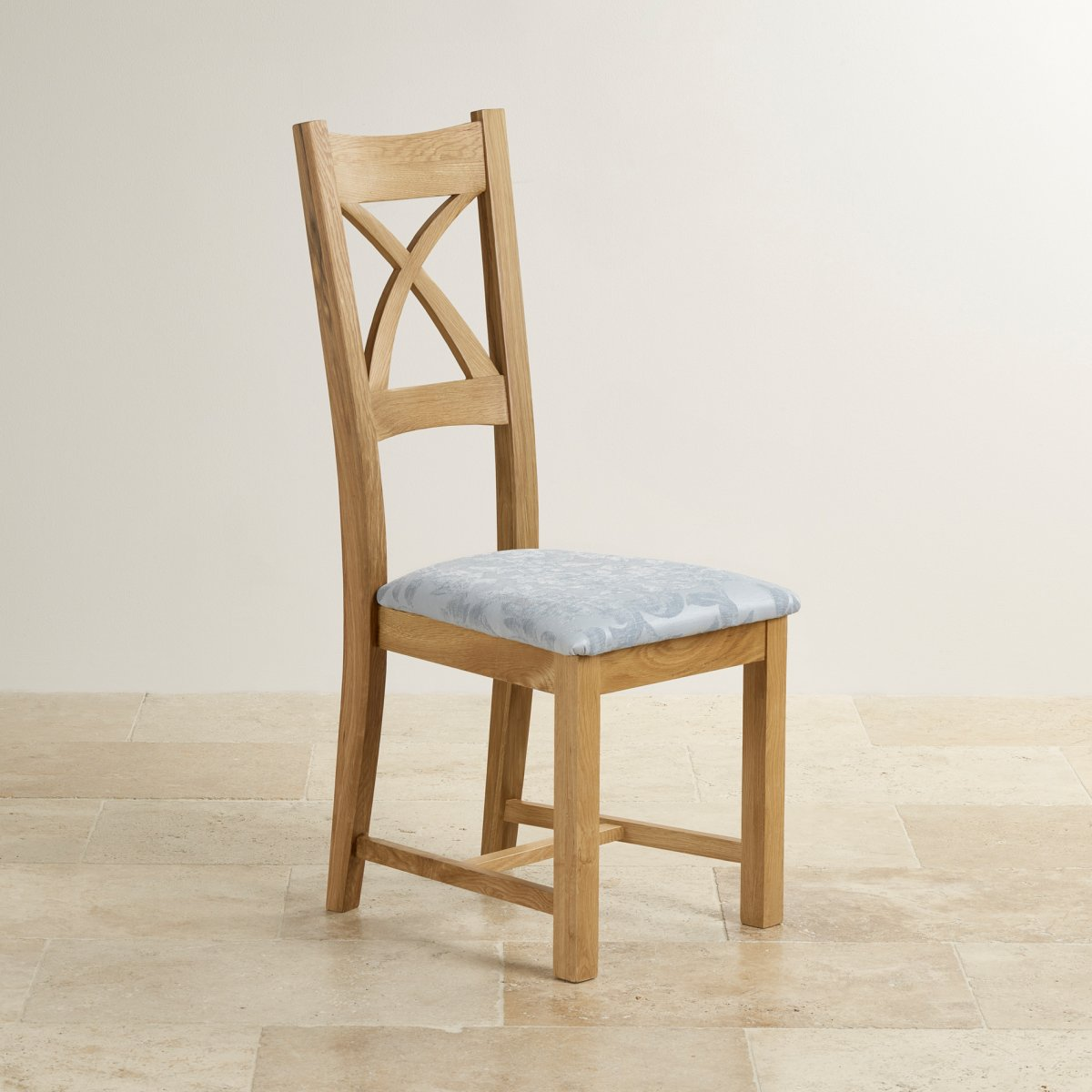 cross back dining chair in natural oak duck egg fabric seat. Black Bedroom Furniture Sets. Home Design Ideas
