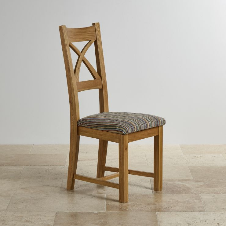 Cross Back Dining Chair In Natural Oak Multi Coloured Fabric