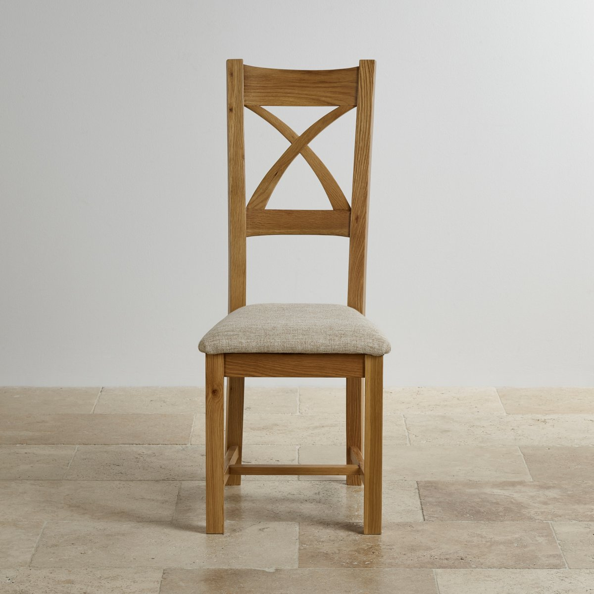 Cross back dining chair in natural oak beige fabric seat for Oak dining chairs