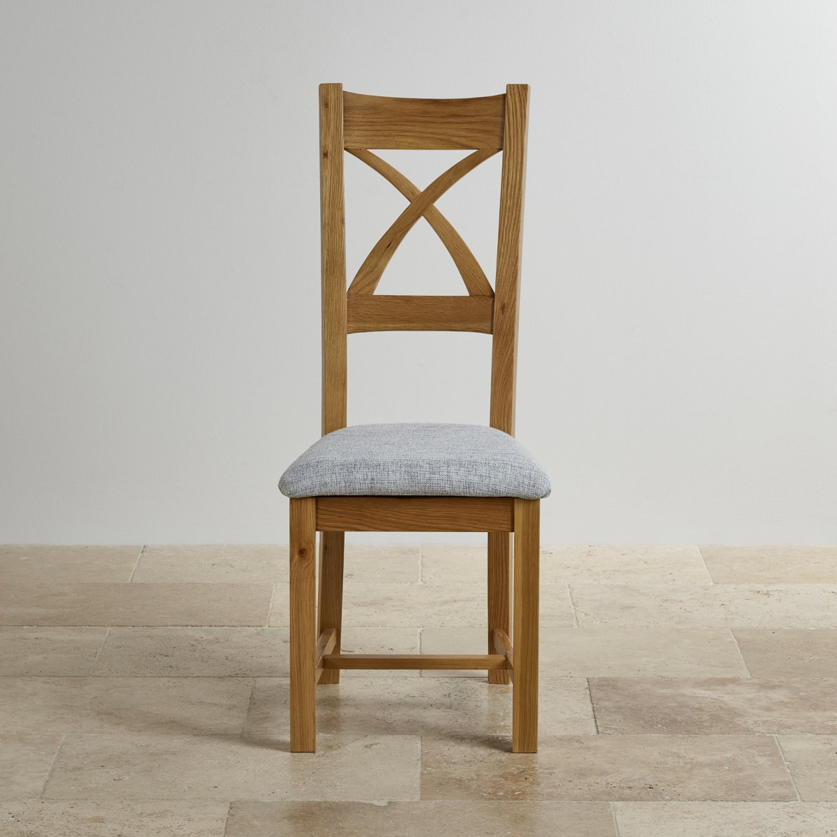 Solid Oak Dining Chairs ~ Cross back dining chair in natural oak grey fabric seat