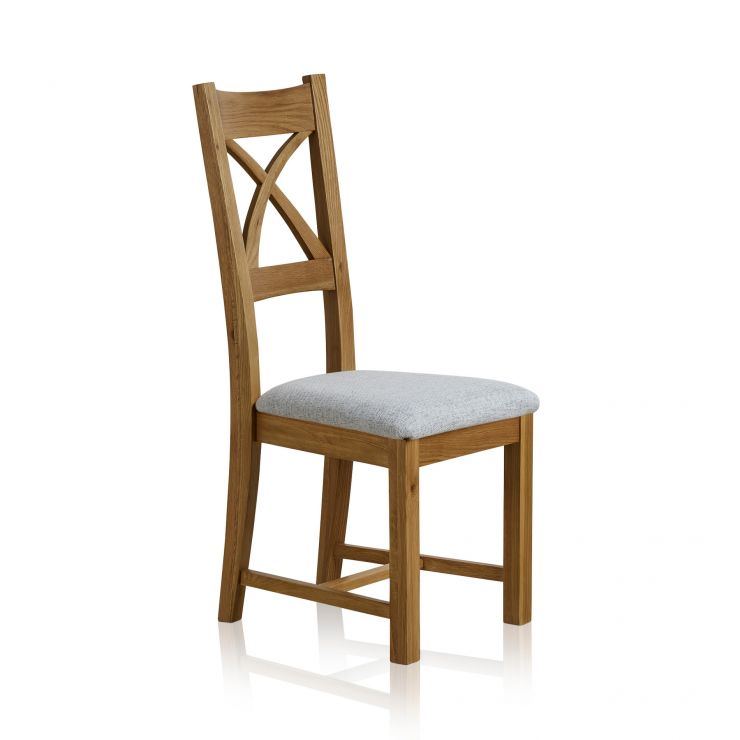 Cross Back Natural Solid Oak Dining Chair With Plain Grey Fabric Chair Pad    Image 1 Express Delivery