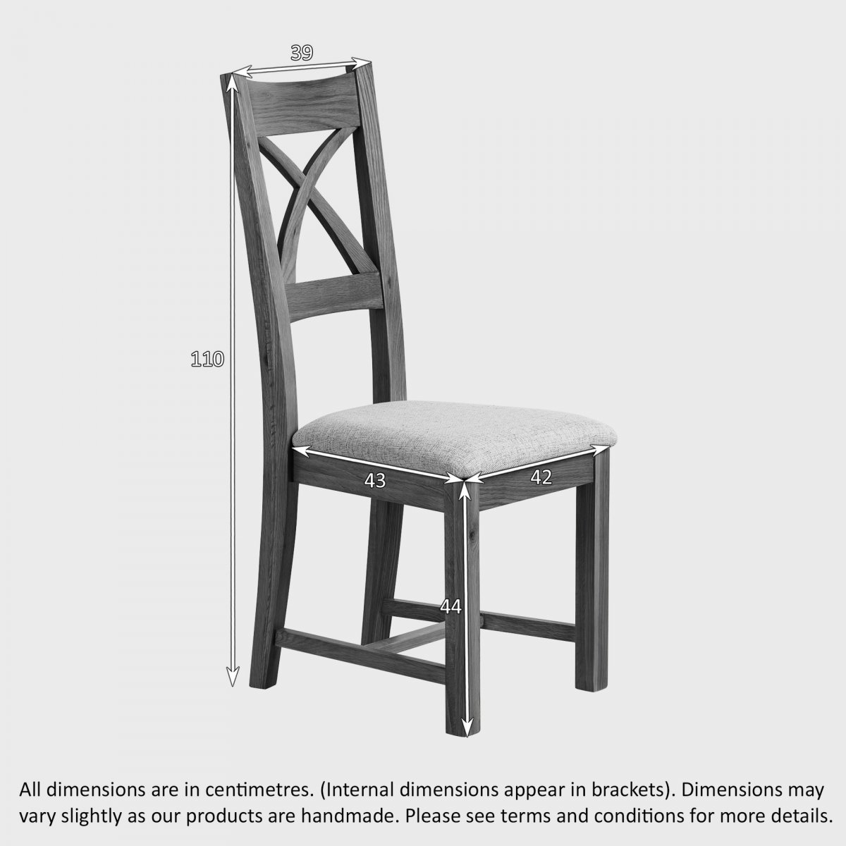 cross back dining chair in rustic oak check brown fabric. Black Bedroom Furniture Sets. Home Design Ideas