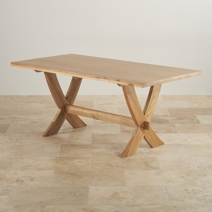 Crossley Natural Solid Oak 6ft x 3ft Crossed Leg Dining Table