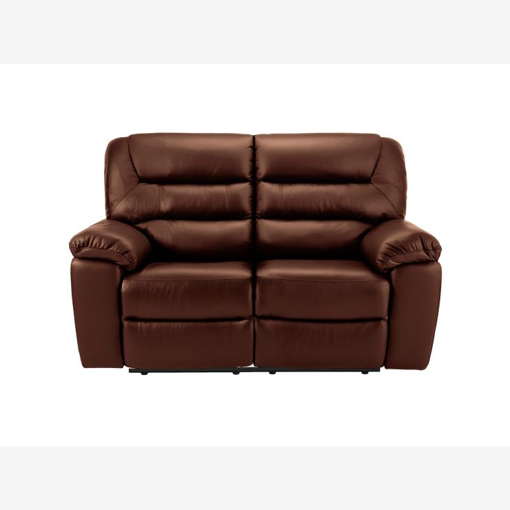 Devon 2 Seater Manuel Recliner Sofa In Tan Leather
