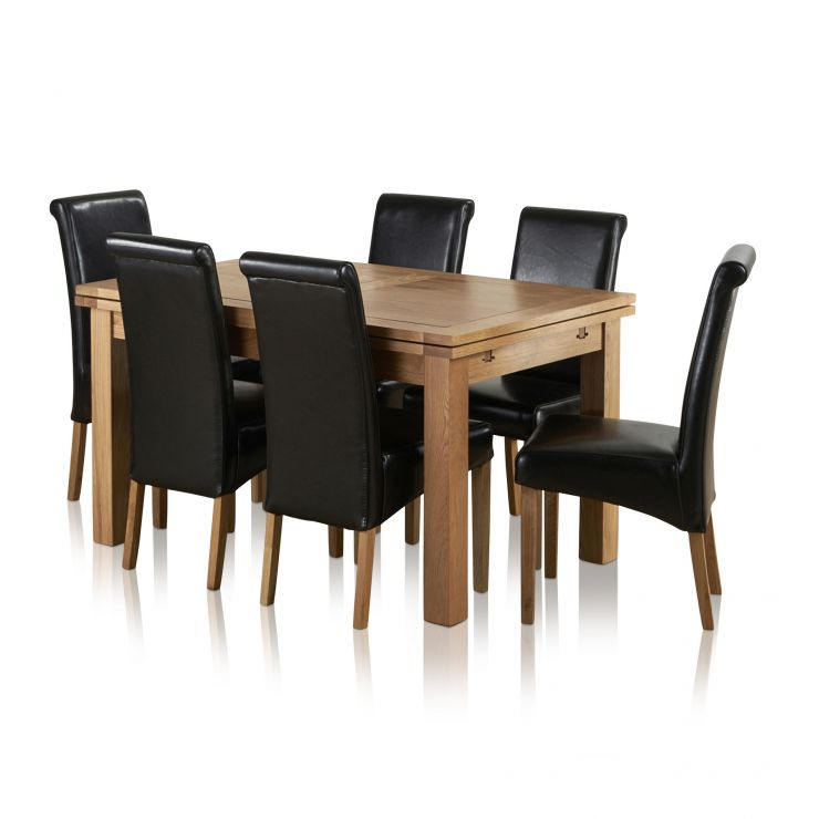 Dorset Extending Dining Set In Oak Table 6 Scroll Back Chairs
