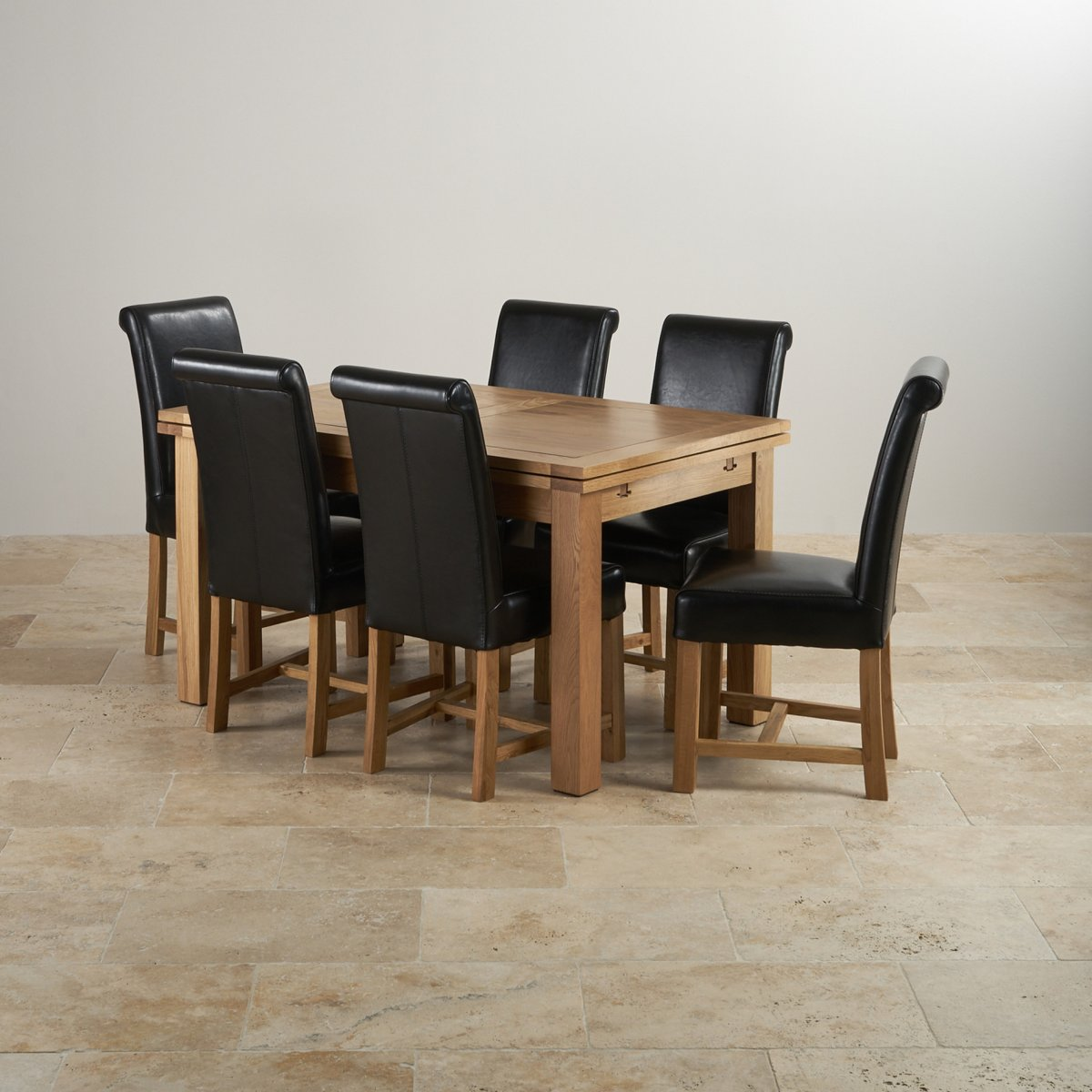 Dorset Dining Set Extending Table In Oak 6 Leather Chairs: Dorset 4ft 7 Extending Oak Dining Table + 6 Cream Leather