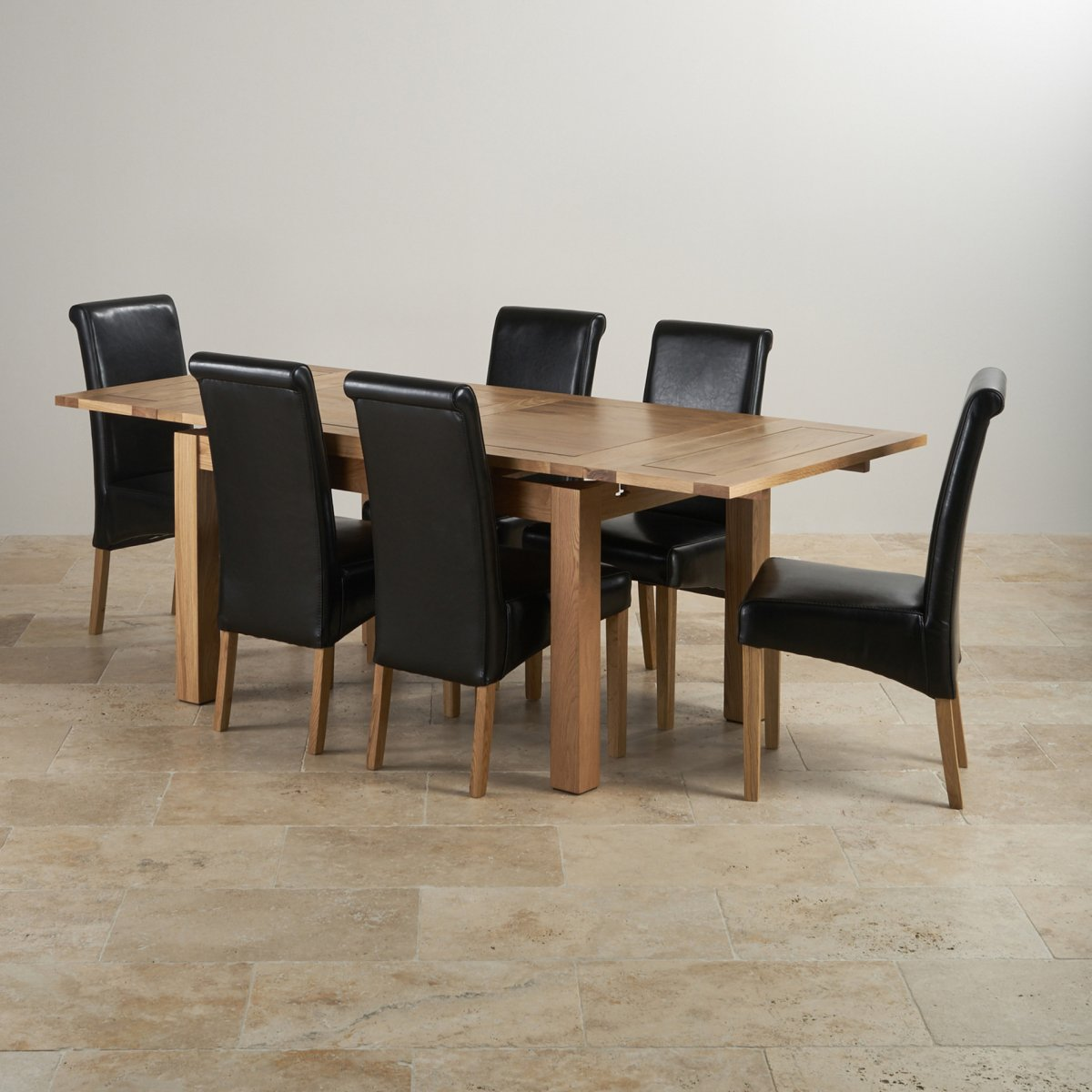 Dorset extending dining set in oak table 6 scroll back chairs - Extended dining table sets ...
