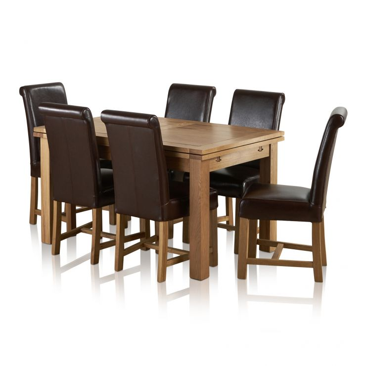 Dorset Dining Set Extending Table In Oak 6 Leather Chairs: Dorset Extending Dining Set In Oak: Table + 6 Leather Chairs