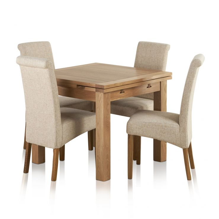 Dorset Natural Solid Oak Dining Set - 3ft Extending Table + 4 Scroll Back  Plain Beige Fabric Chairs