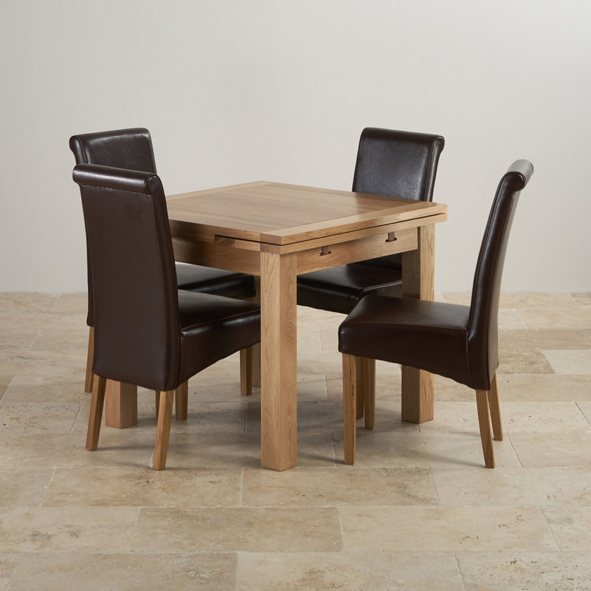 Leather Dining Set: 3ft Table With 4 Brown Chairs