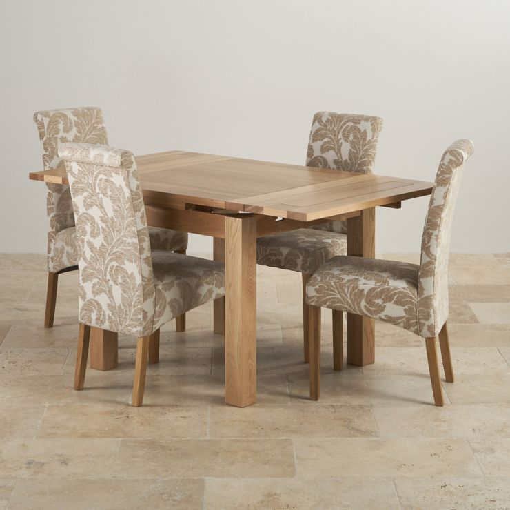 fd2d103651 SAVE £220. Dorset Natural Solid Oak 3ft Extending Table + 4 Scroll Back  Patterned Beige Fabric Chairs - Express Delivery