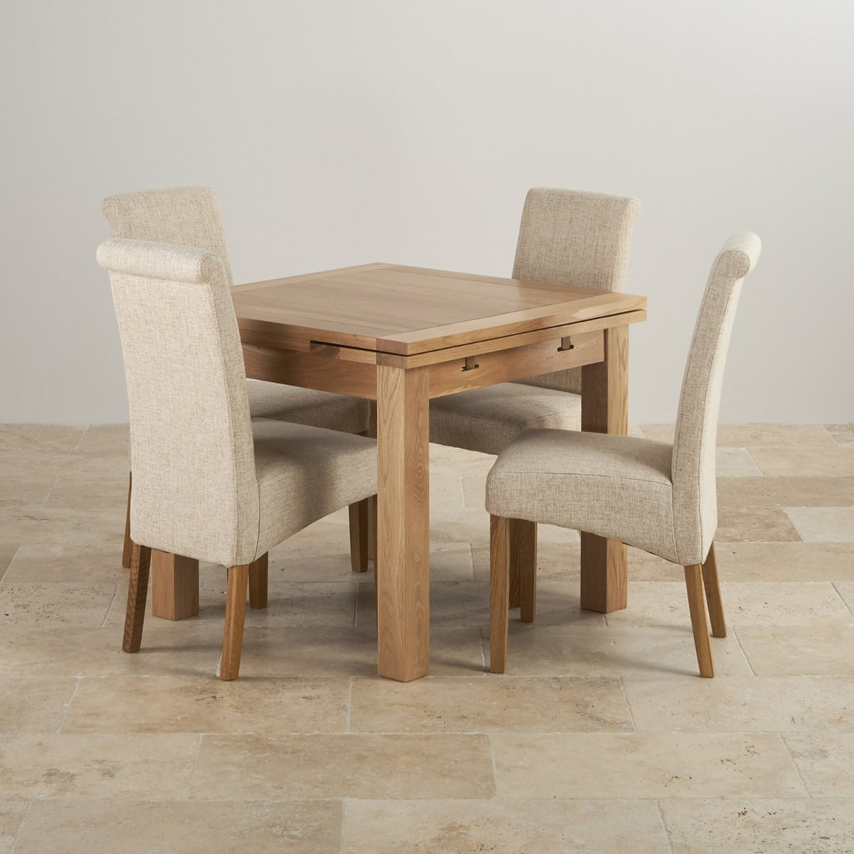 Solid Dining Table And Chairs: Dorset Oak 3ft Dining Table With 4 Beige Fabric Chairs