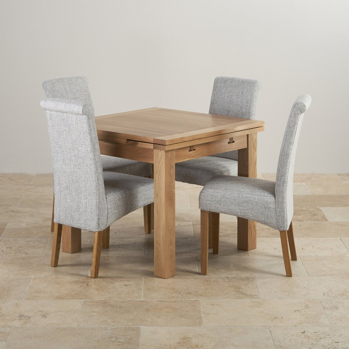 Dorset oak 3ft dining table with 4 grey fabric chairs for Four chair dining table