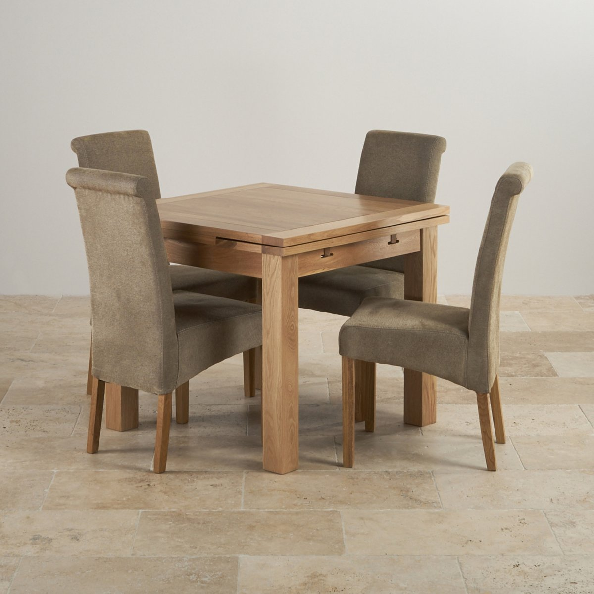 Dorset Natural Solid Oak Dining Set Extending Table Scroll Plain Sage Fabric Chairs Sale Edinburgh