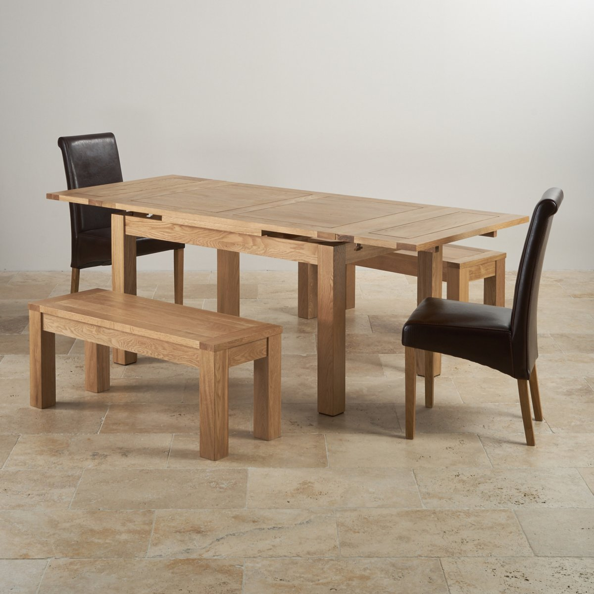 Dorset Extending Dining Set In Oak Table Benches Amp Chairs