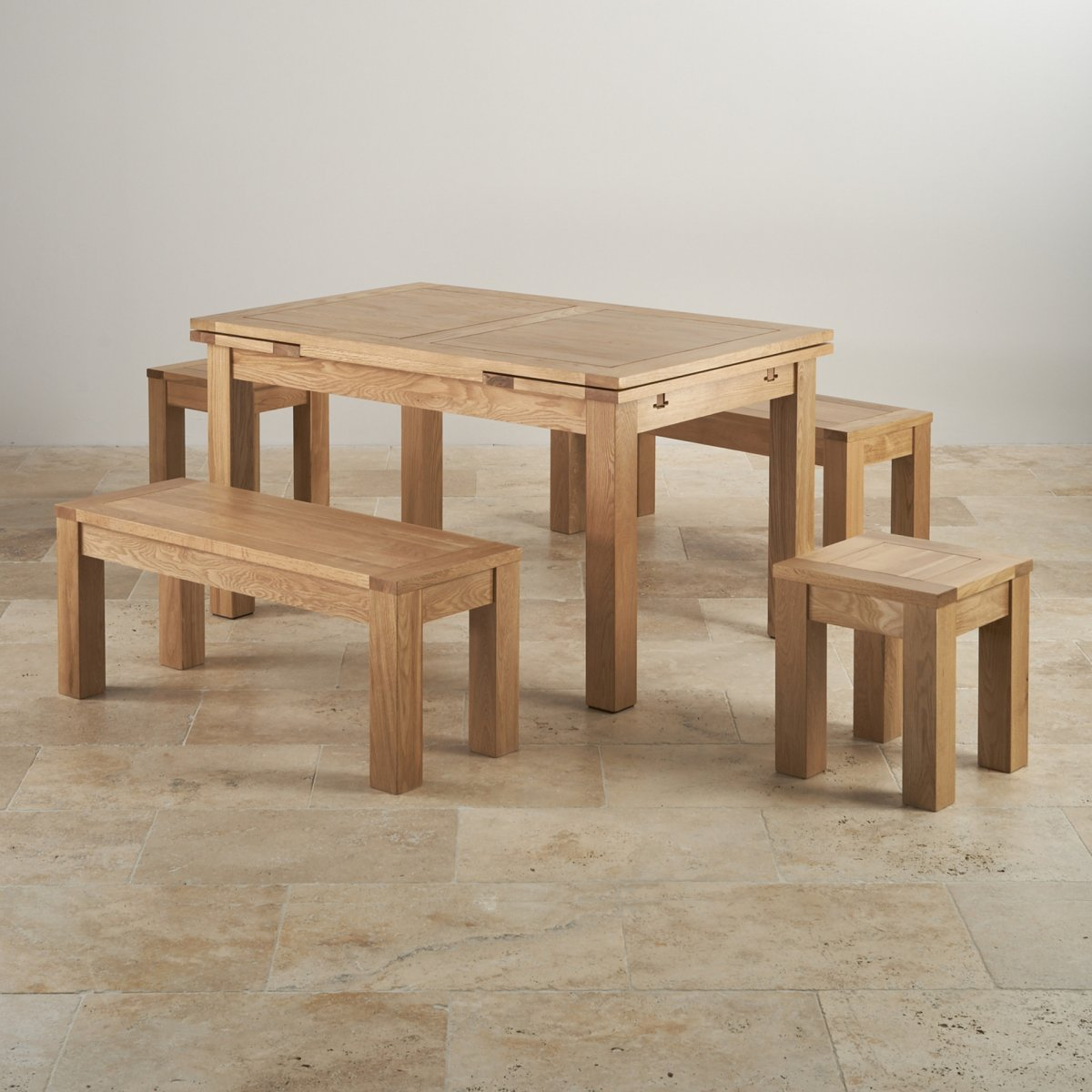 """Dorset Oak 4ft 7"""" Dining Table With 2 Benches & 2 Stools"""