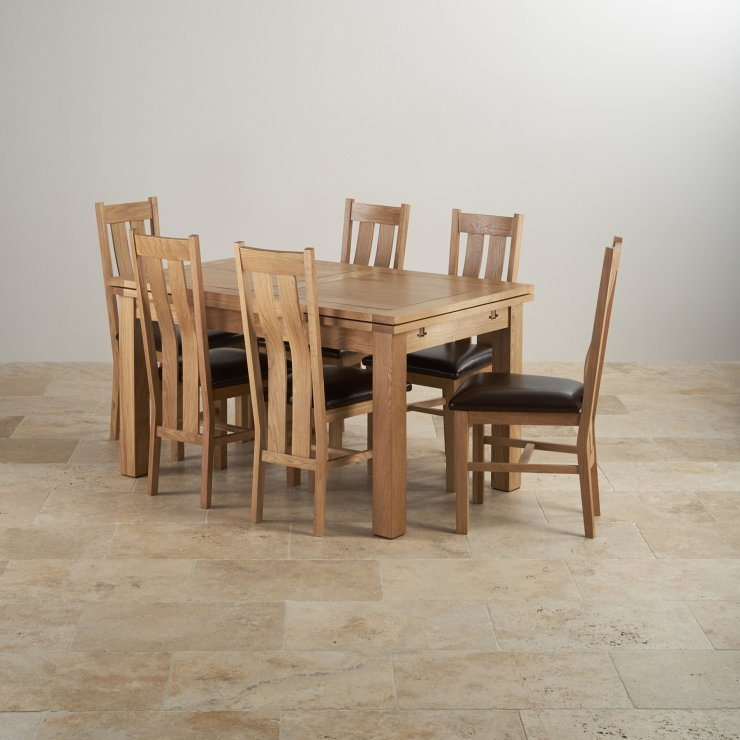 Edinburgh Extending Dining Set In Oak Dining Table 6 Chairs: Dorset Dining Set In Oak: Extending Table + 6 Leather Chairs