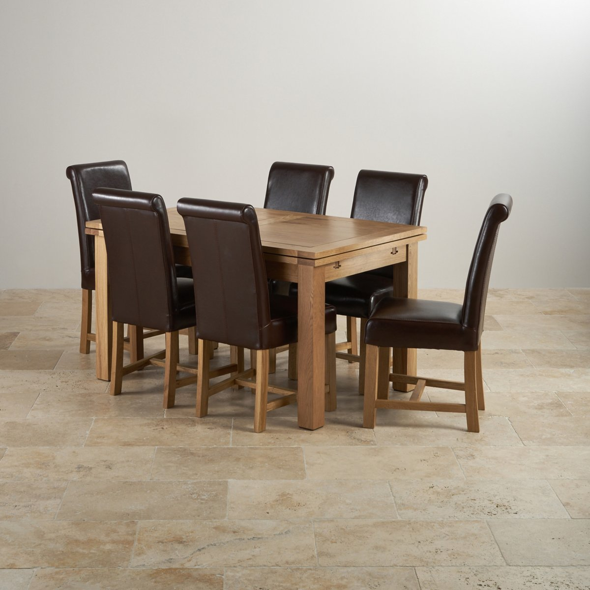 Dorset extending dining set in oak table 6 leather chairs - Extended dining table sets ...