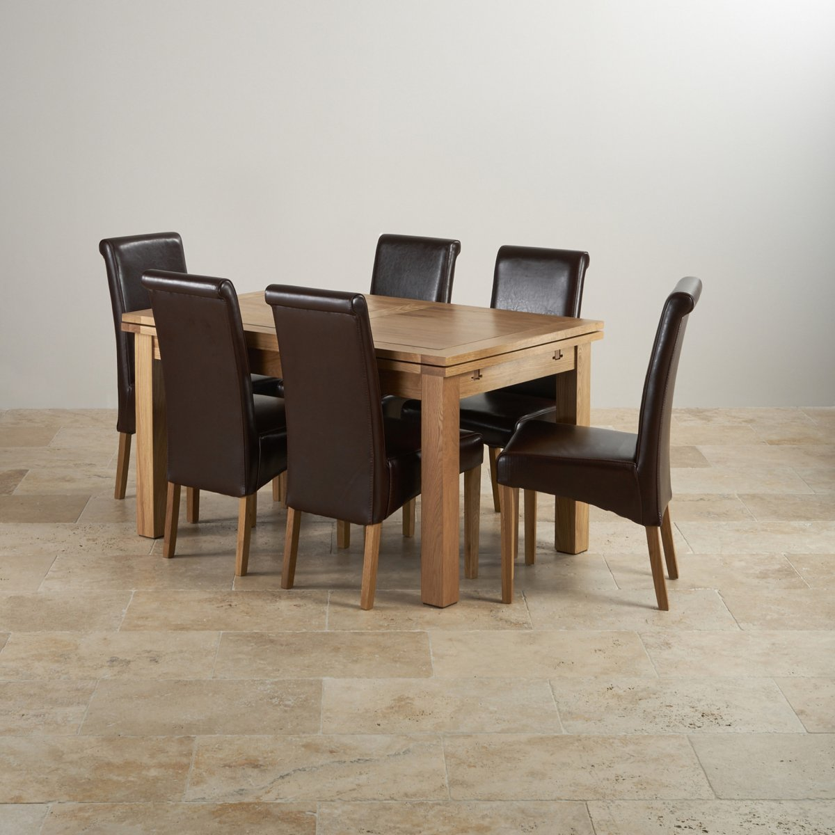 "Dorset Oak 4ft 7"" Dining Table With 6 Brown Chairs"