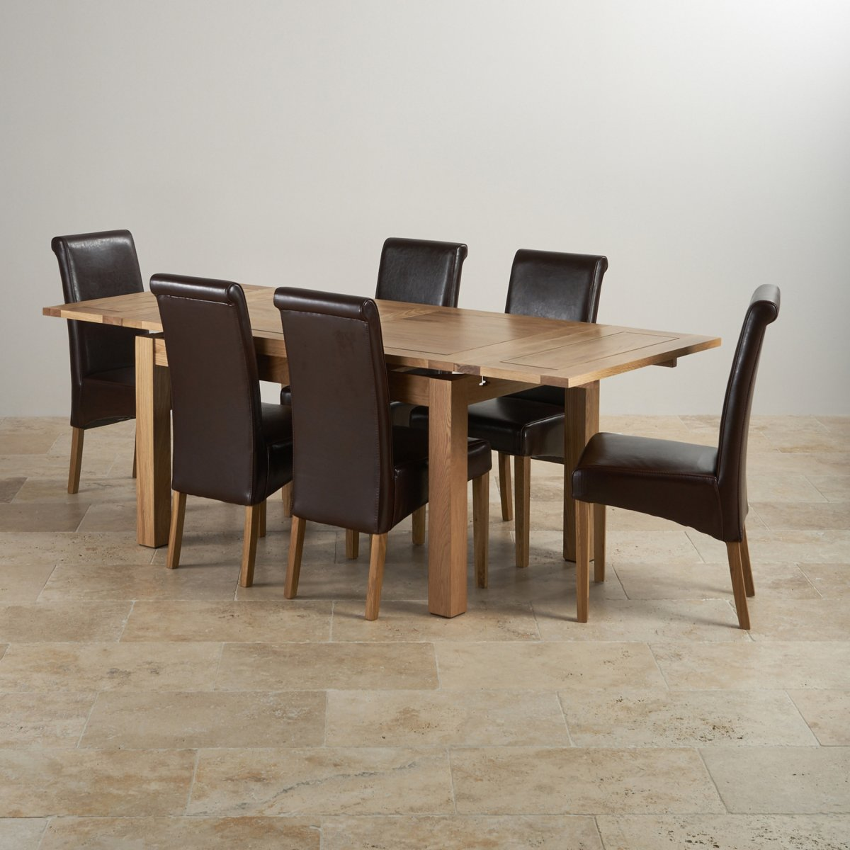 Dorset Oak 4ft 7 Quot Dining Table With 6 Brown Chairs