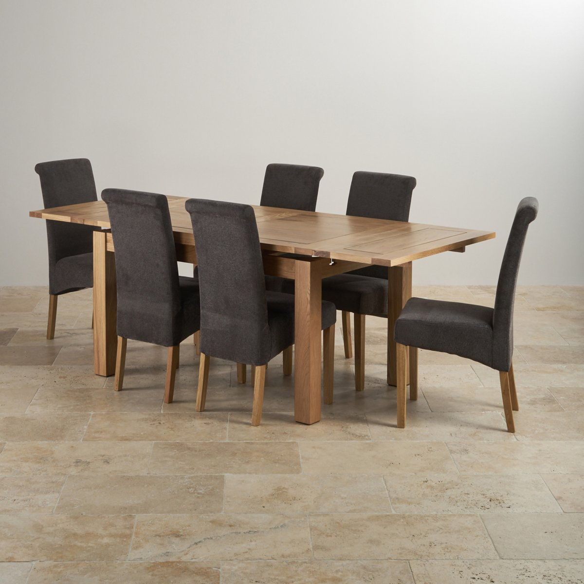 Dorset extending dining table in oak 6 charcoal chairs for Table 6 3 asce 7 05