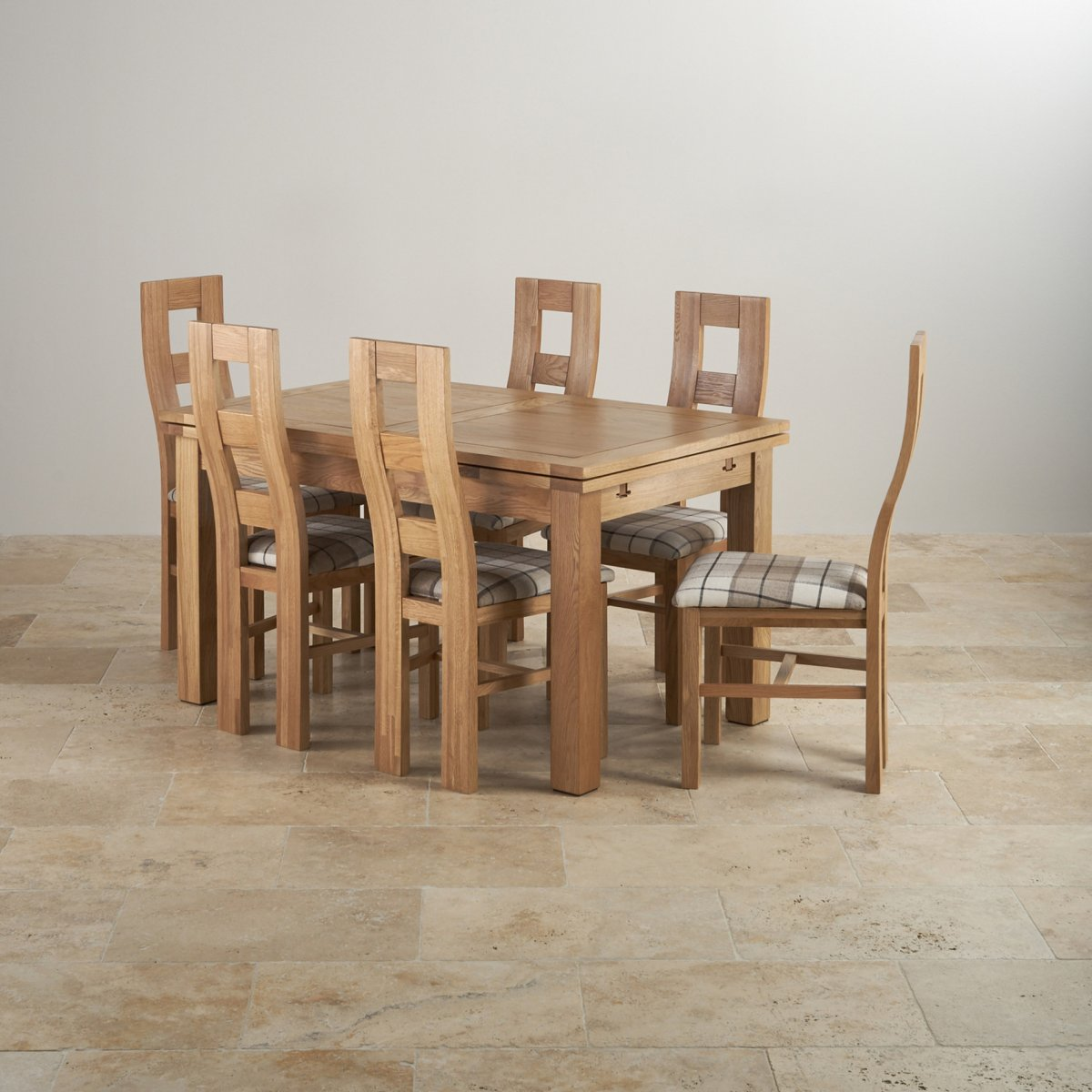 Dorset Dining Set In Real Oak: Table + 6 Patterend Chairs