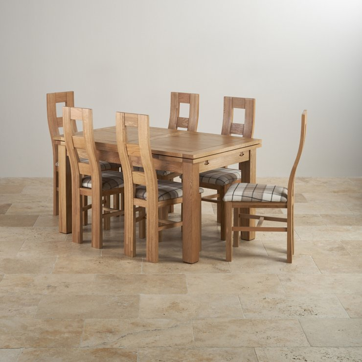 Dorset Dining Set in Real Oak Table 6 Patterend Chairs : dorset natural solid oak dining set 4ft 7 extending table with 6 wave back and brown check chairs 56f292bd16044db6cd73cdb9f02dc66406dc957d5d70f from www.oakfurnitureland.co.uk size 740 x 740 jpeg 68kB