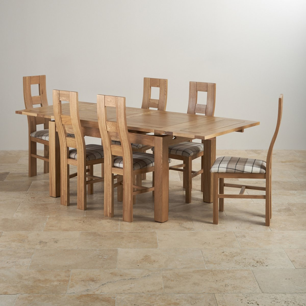 Dorset Dining Set In Real Oak Table 6 Patterend Chairs