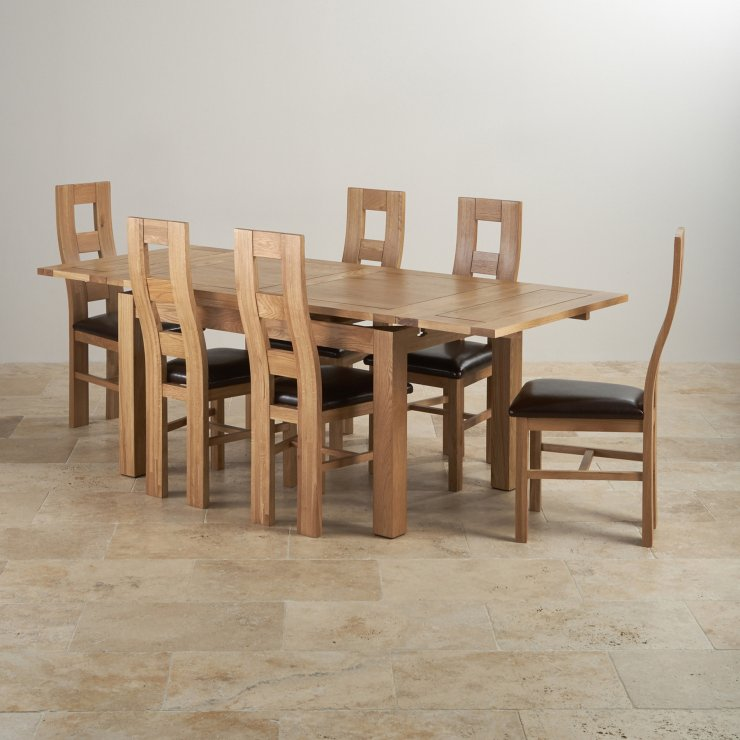 Edinburgh Extending Dining Set In Oak Dining Table 6 Chairs: Dorset Dining Set: Extending Table In Oak + 6 Leather Chairs