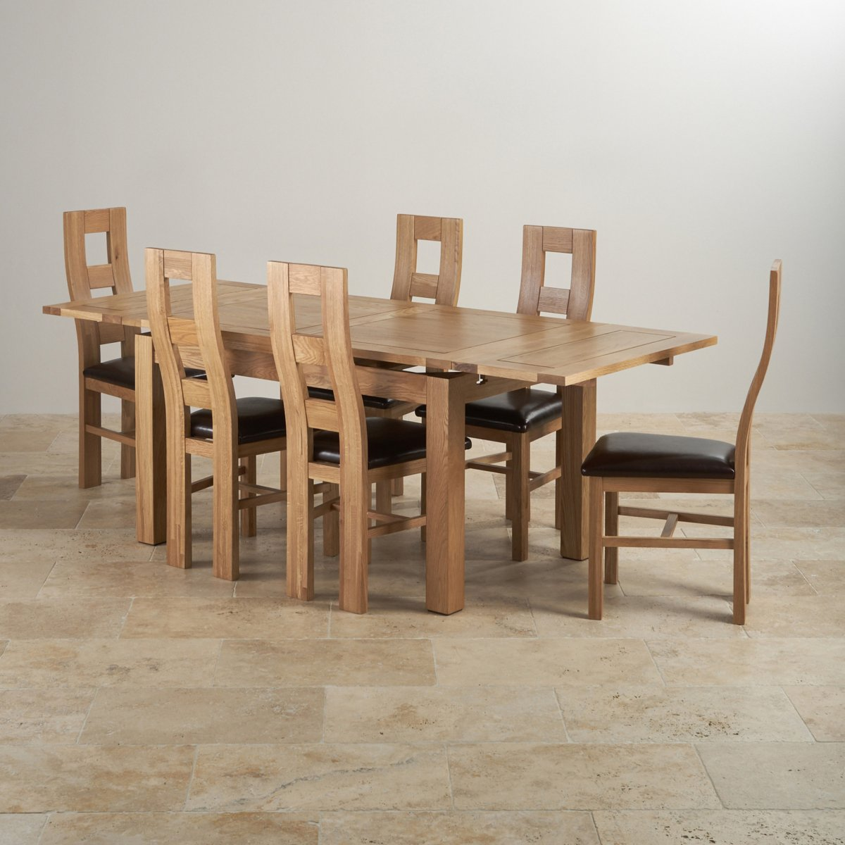 Dorset dining set extending table in oak 6 leather chairs for Oak dining table set