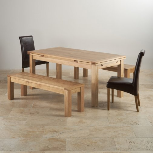 Dorset Oak 4ft 7 Dining Table With 6 Brown Chairs: Extending Dining Sets