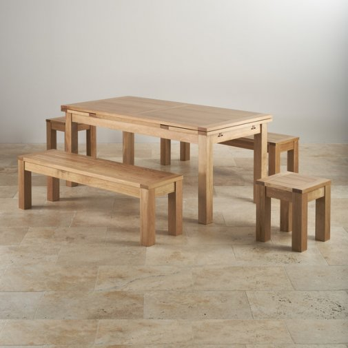 "Dorset Natural Oak Dining Set - 6ft Extending Table with 2 x 4ft 11"" Benches and 2 x Square Stools"