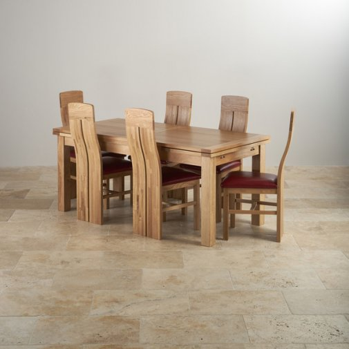 Dorset Natural Solid Oak Dining Set - 6ft Extending Table with 6 Lily and Red Leather Chairs