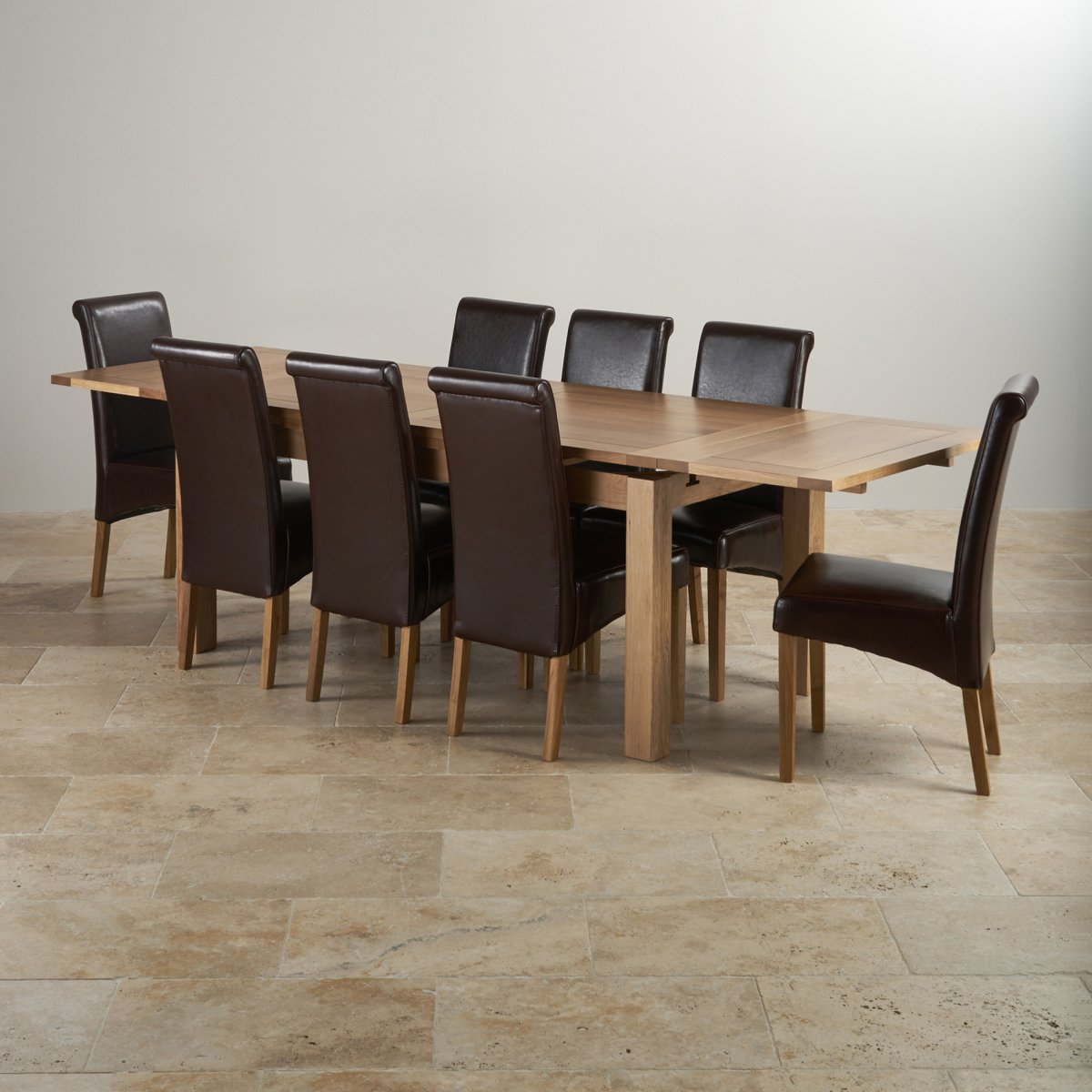Dorset Oak Dining Set 6ft Table with 8 Chairs : dorset natural solid oak dining set 6ft extending table with 8 scroll back brown leather chairs 56f3f52a43a49e46a33e08cd0d4e1867b060493b72e19 from www.oakfurnitureland.co.uk size 1200 x 1200 jpeg 154kB