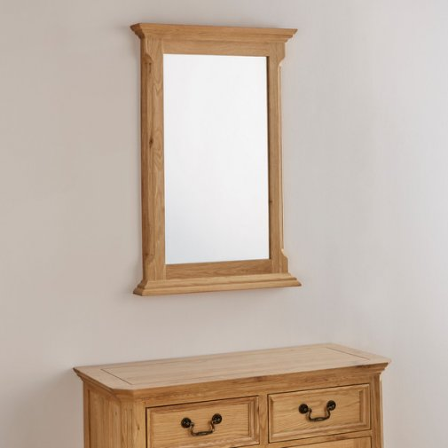 Edinburgh Natural Solid Oak 900mm x 600mm Wall Mirror