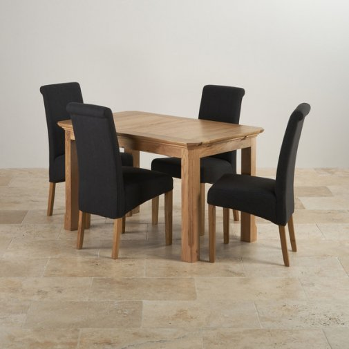 Edinburgh Natural Solid Oak 4ft Extending Table With 4 Scroll Back Plain Black Fabric Chairs
