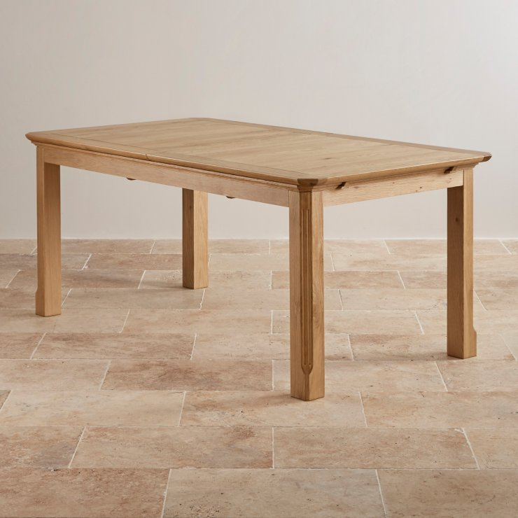 Edinburgh Natural Solid Oak 6ft Extending Table with 6 Scroll Back Plain Sage Fabric Chairs